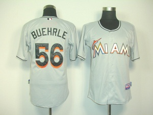Mark Buehrle Grey Jersey-Florida Marlins 56 Authentic Jersey