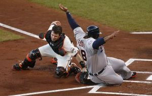 Buster Posey tags out Prince Fielder in Game 1 of the 2012 World Series.