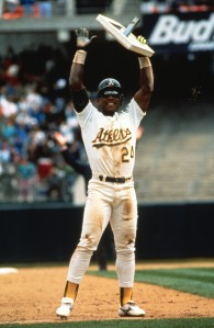 Rickey Henderson celebrates stolen base no. 939 breaking the All-Time sb record.
