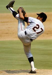 Juan Marichal's iconic high leg kick.